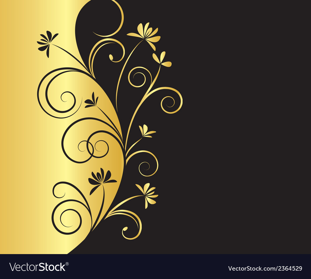 Floral background in black and gold colors vector | Price: 1 Credit (USD $1)