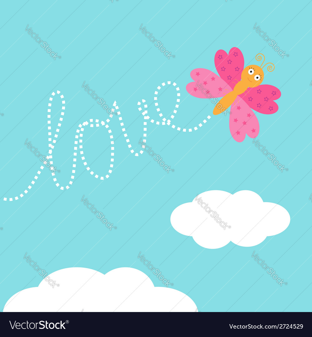 Flying butterfly insect dash word love in the sky vector | Price: 1 Credit (USD $1)