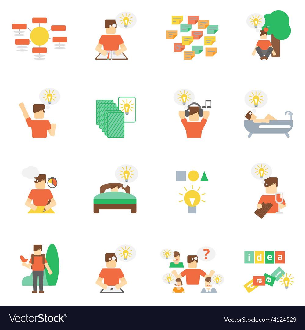 Ideas icons flat set vector   Price: 1 Credit (USD $1)