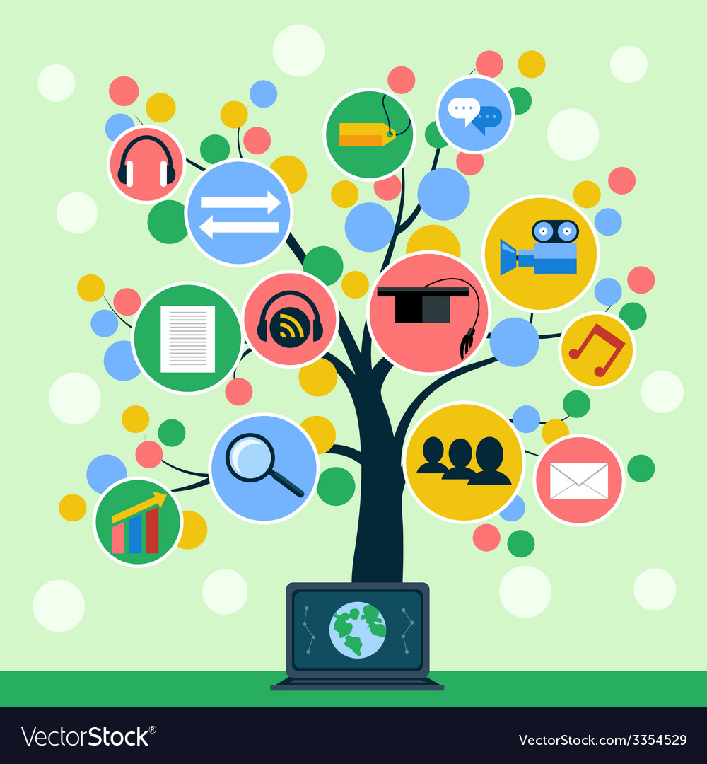 Internet application icons tree concept vector | Price: 1 Credit (USD $1)
