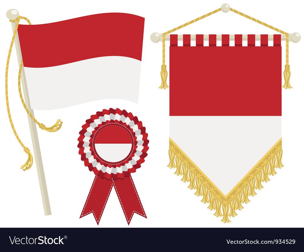 Monaco flags vector | Price: 1 Credit (USD $1)