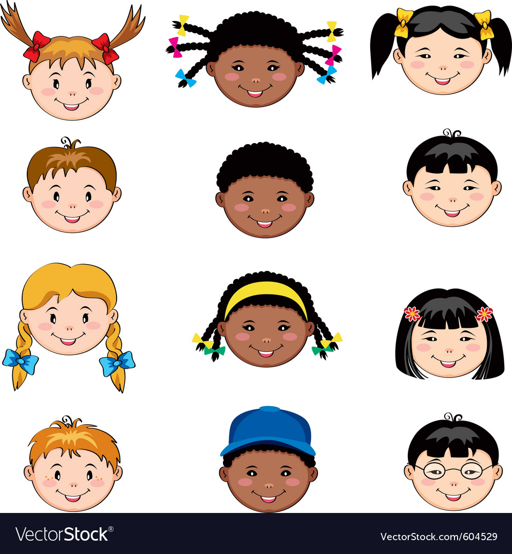 Multi ethnic children faces vector | Price: 3 Credit (USD $3)