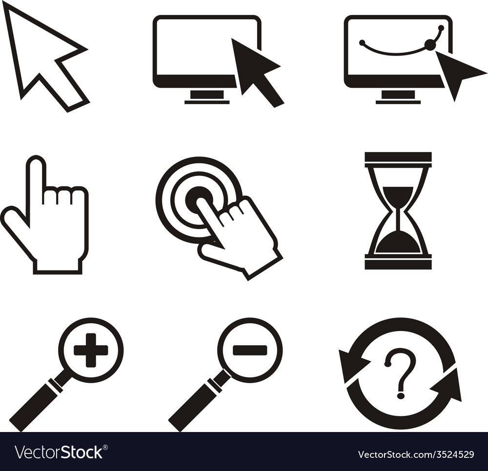 Set of mouse cursors hand cursor hourglass vector | Price: 1 Credit (USD $1)