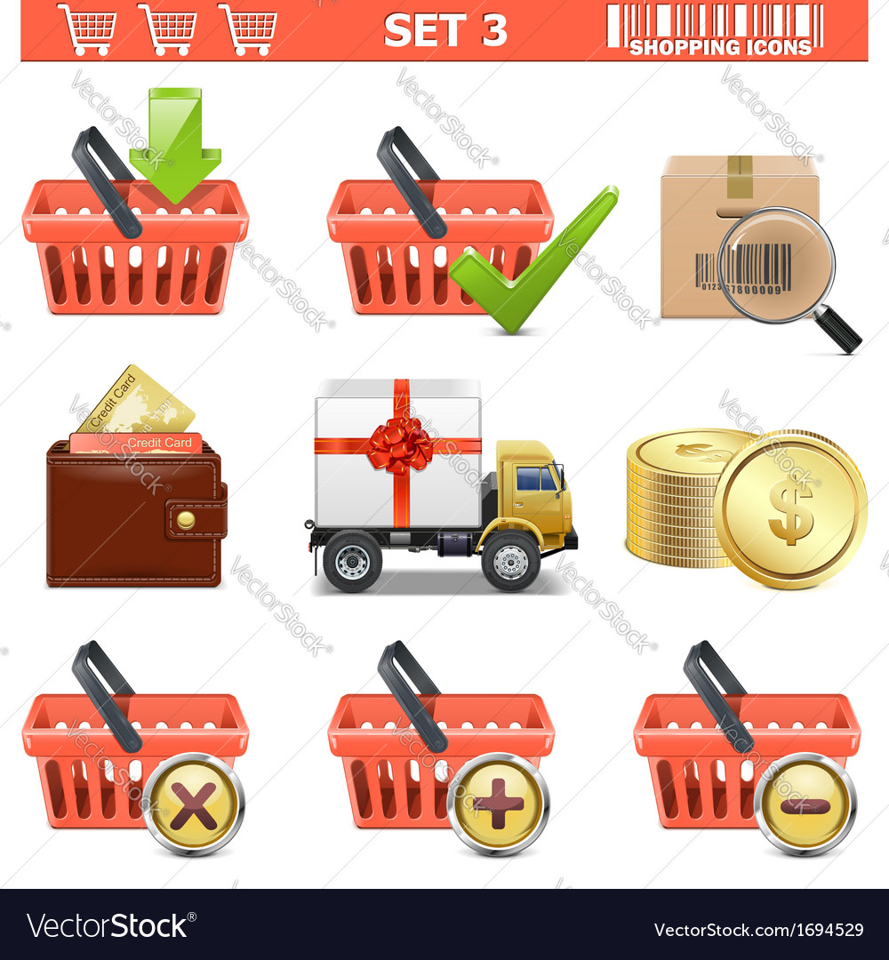 Shopping icons set 3 vector | Price: 1 Credit (USD $1)