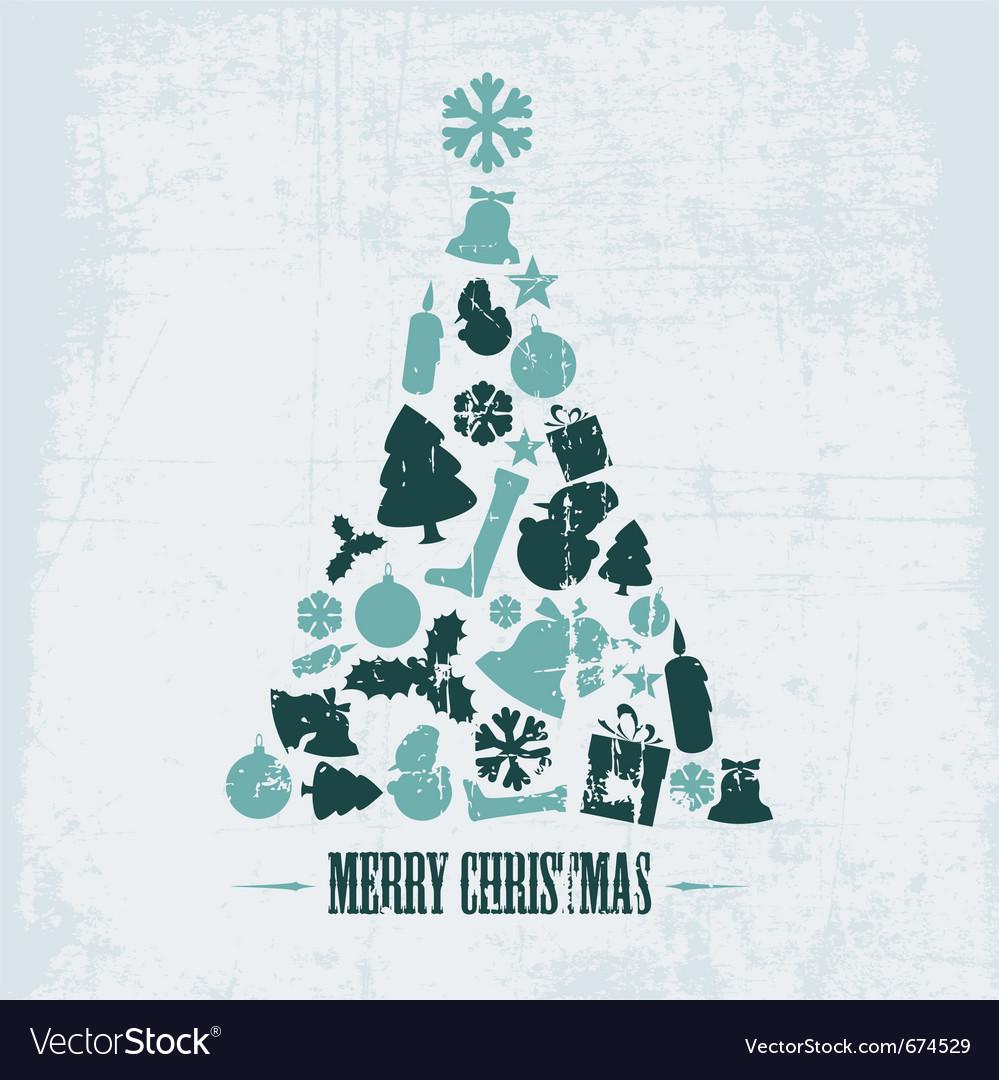 Vintage christmas tree vector | Price: 1 Credit (USD $1)