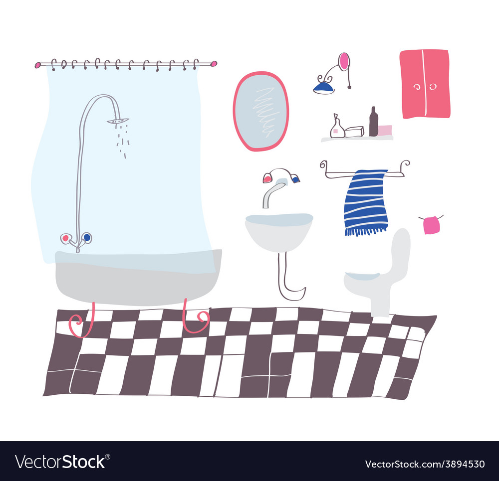 Bathroom cartoon in sketchy style vector | Price: 1 Credit (USD $1)