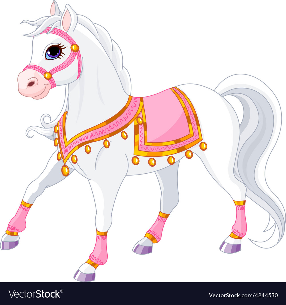 Beautiful white royal horse vector | Price: 3 Credit (USD $3)
