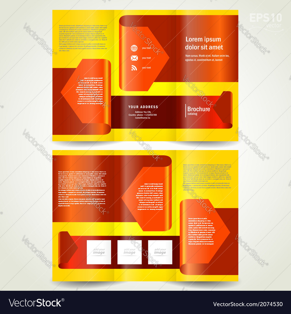 Brochure design template leaflet red arrow ribbon vector | Price: 1 Credit (USD $1)
