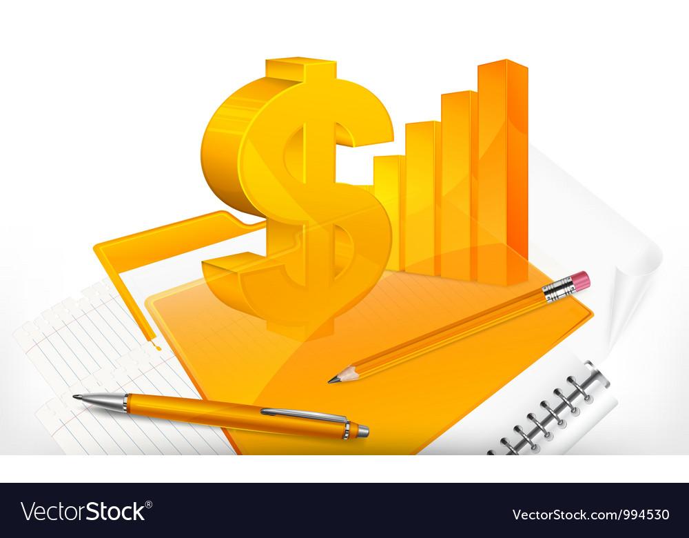 Business dollar note pad pen folder 10 v vector   Price: 3 Credit (USD $3)