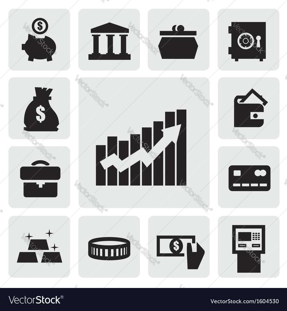 Business financial icons vector | Price: 1 Credit (USD $1)