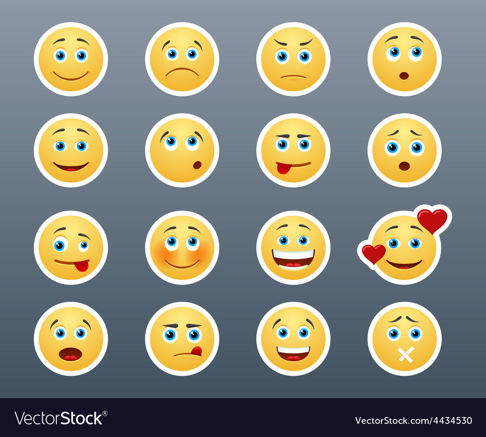 Different emotions smileys vector   Price: 1 Credit (USD $1)