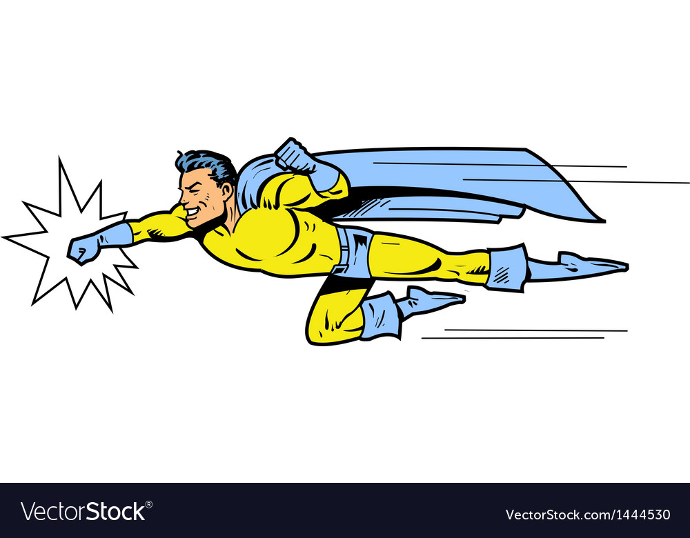 Flying superhero throwing a punch vector | Price: 1 Credit (USD $1)