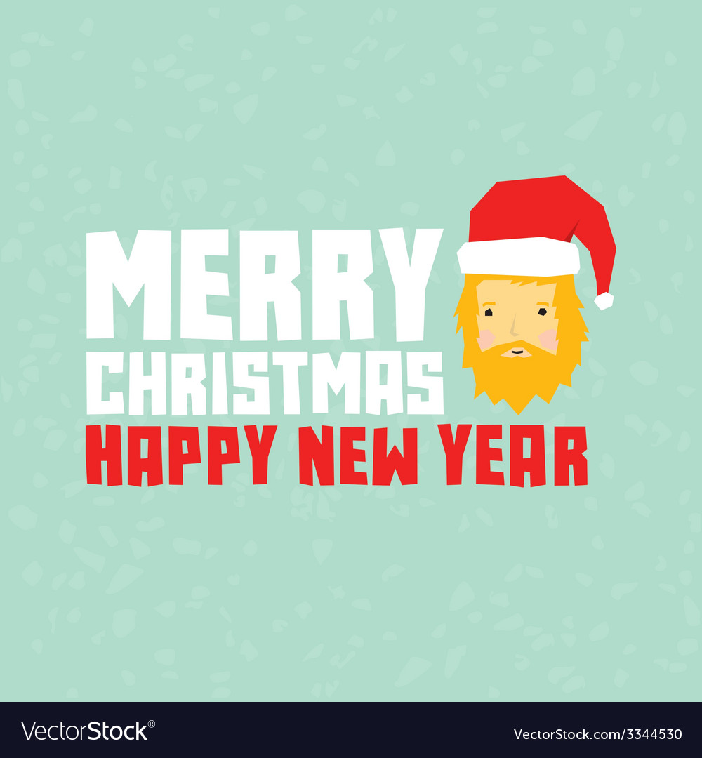 Happy new year hipster santa postcard vector | Price: 1 Credit (USD $1)