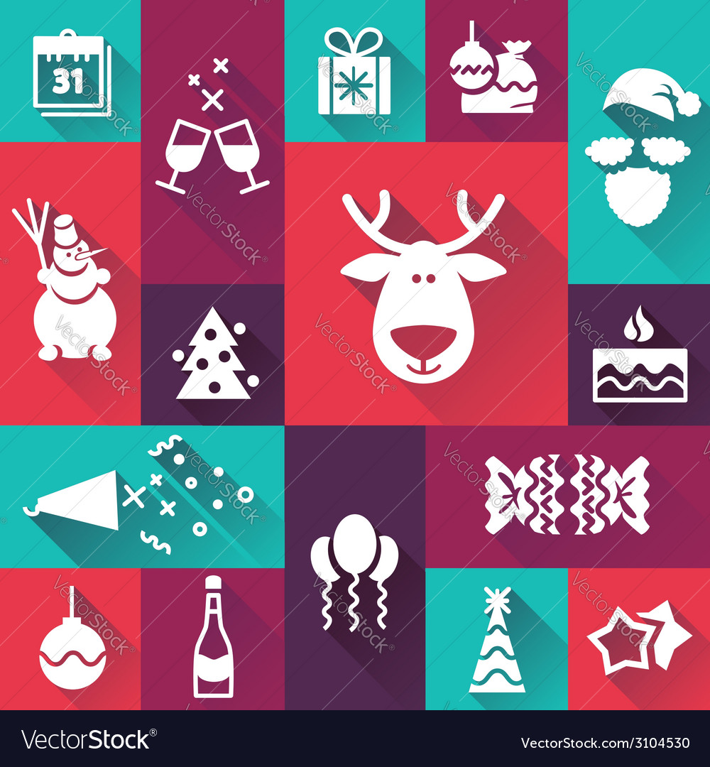 Happy-new-year-icons vector | Price: 1 Credit (USD $1)