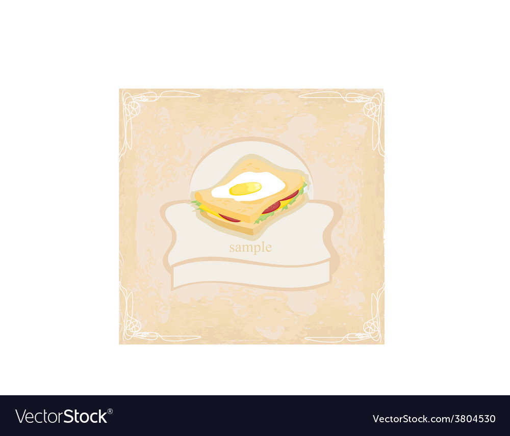 Horizontal grunge background with sandwich vector | Price: 1 Credit (USD $1)