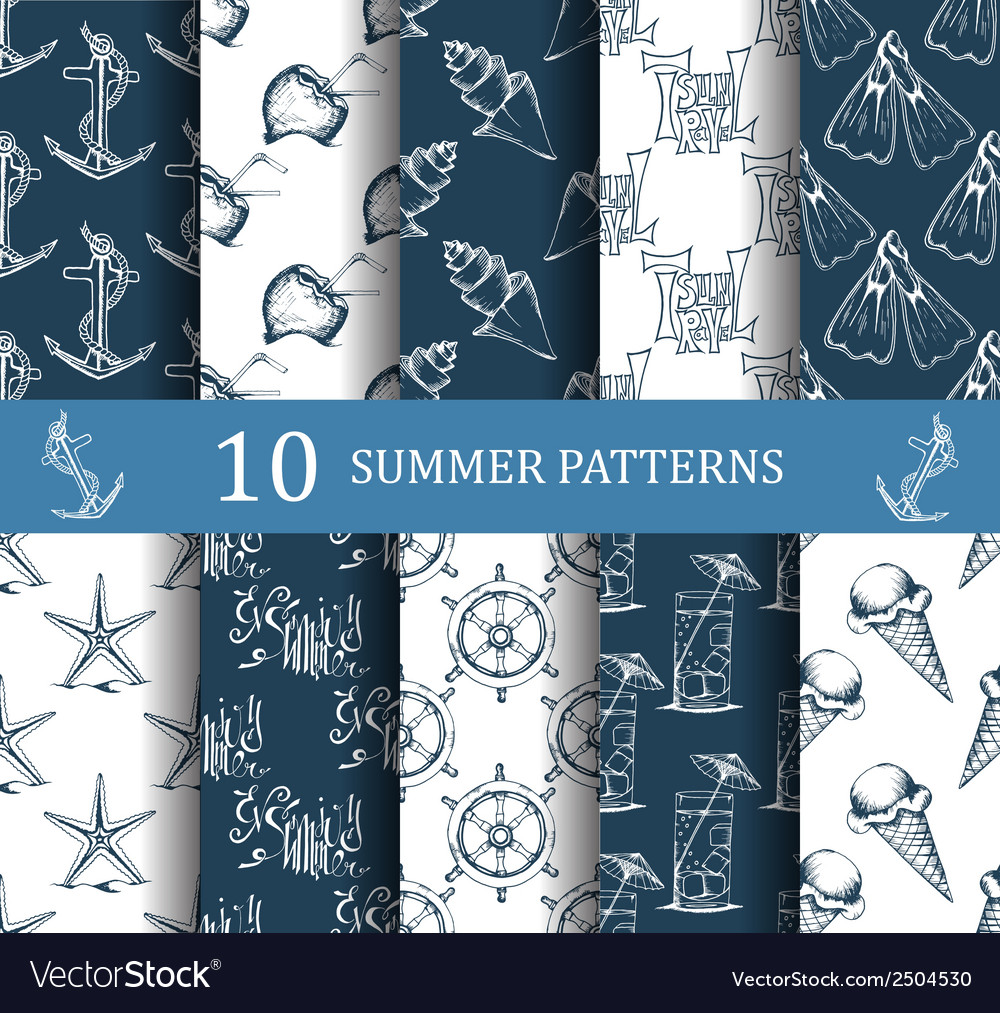 Summer seamless pattern set vector | Price: 1 Credit (USD $1)