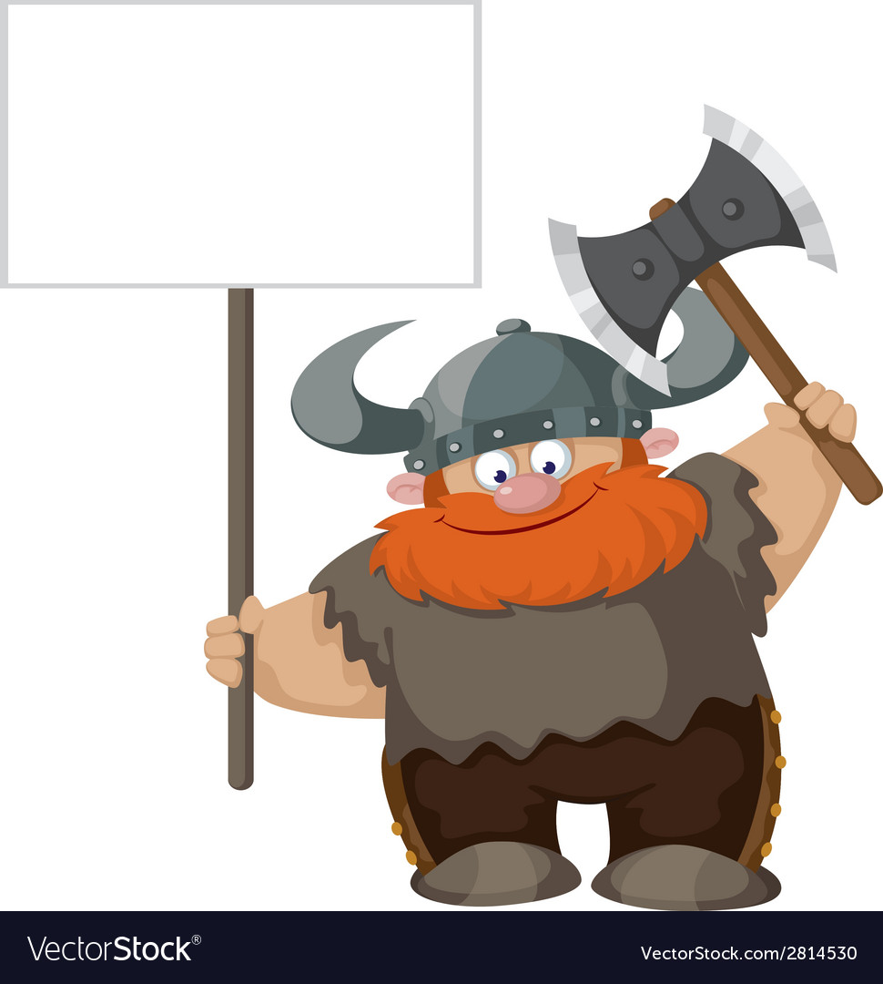 Viking with blank sign vector | Price: 3 Credit (USD $3)