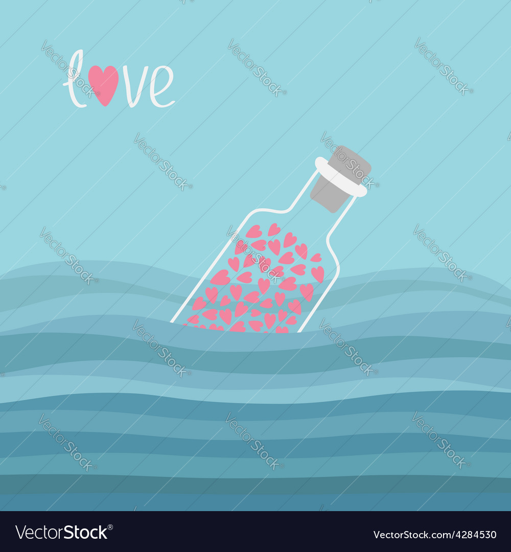Wine bottle with hearts inside in the ocean sea vector | Price: 1 Credit (USD $1)