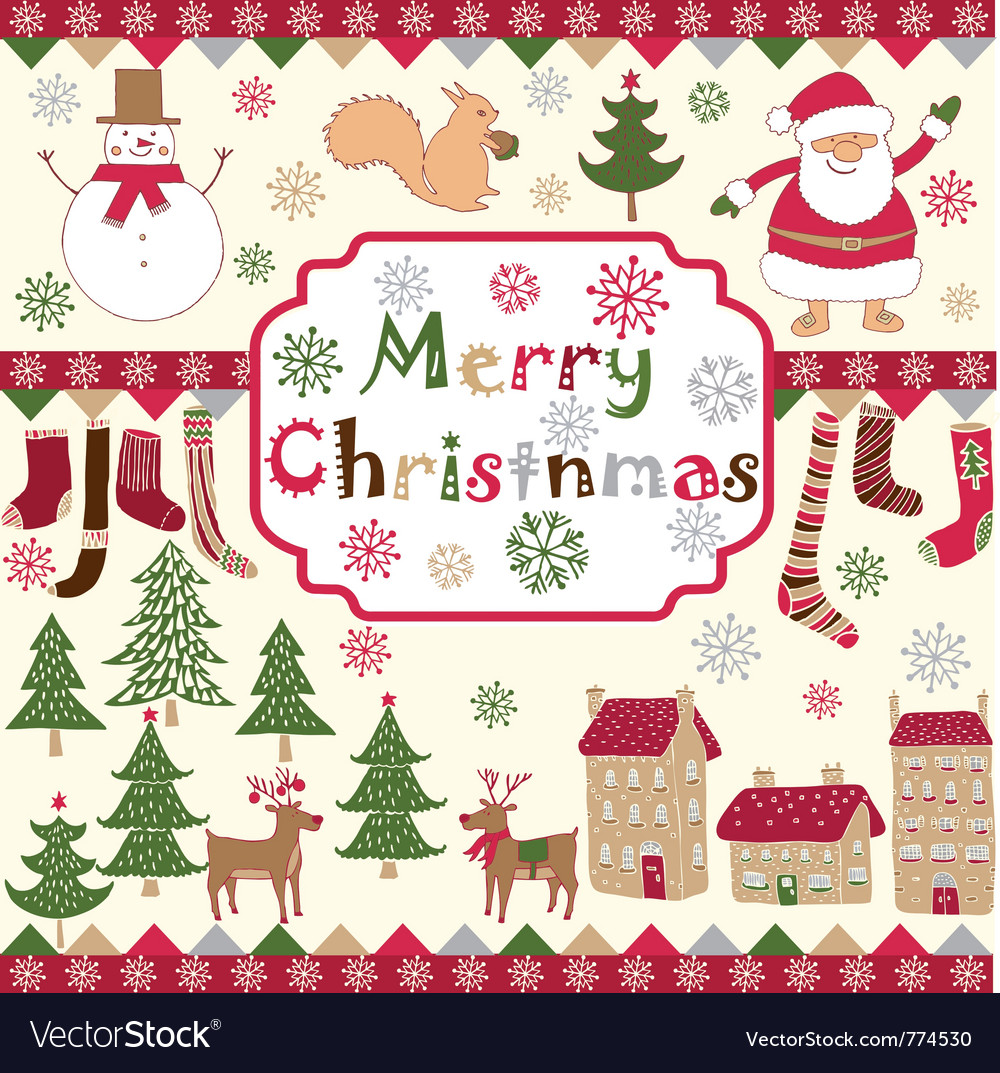 Xmas card drawing vector | Price: 1 Credit (USD $1)