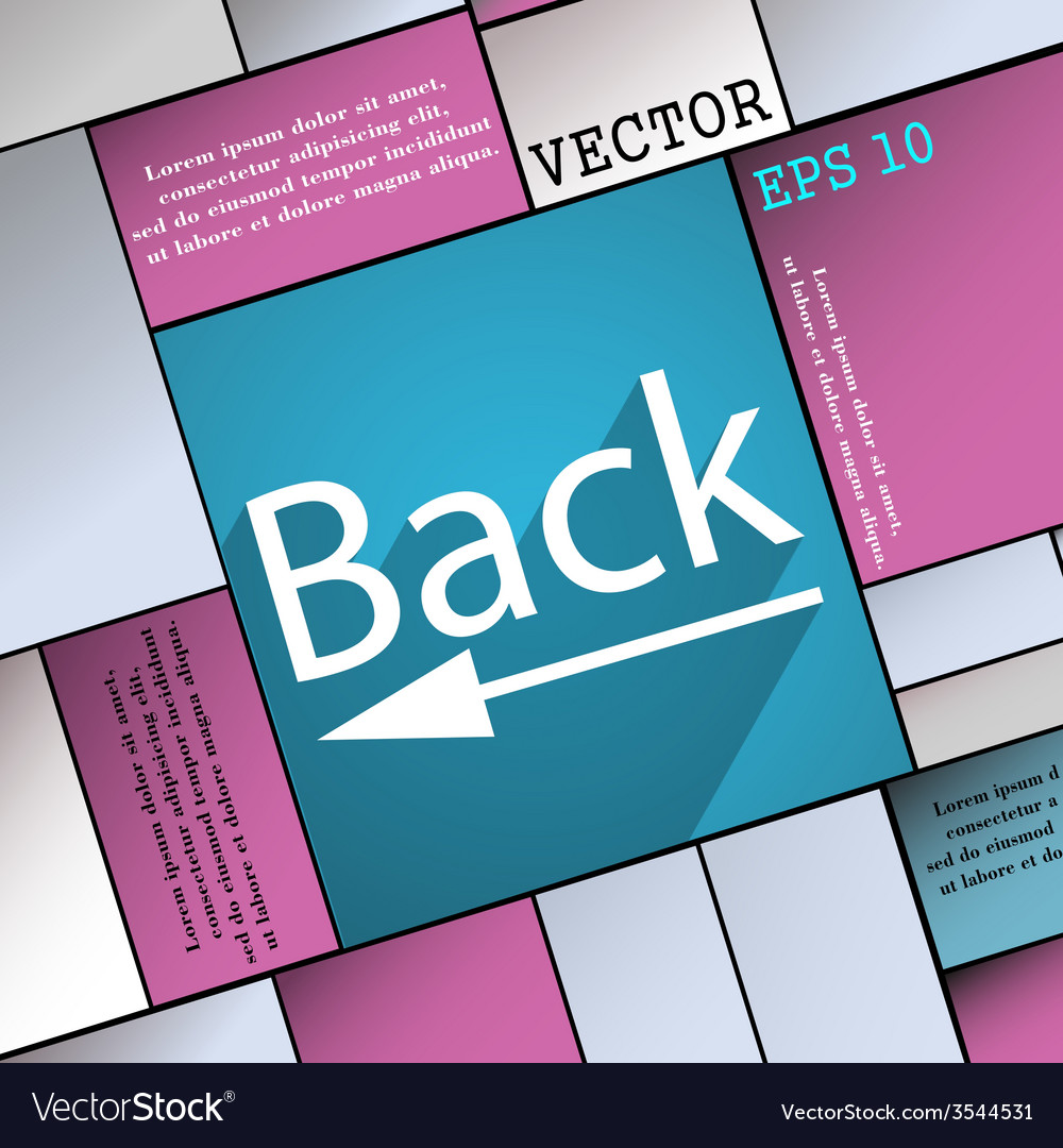 Back arrow icon symbol flat modern web design with vector   Price: 1 Credit (USD $1)
