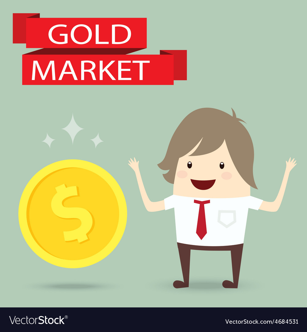 Businessman is happy strategy gold marketing vector | Price: 1 Credit (USD $1)