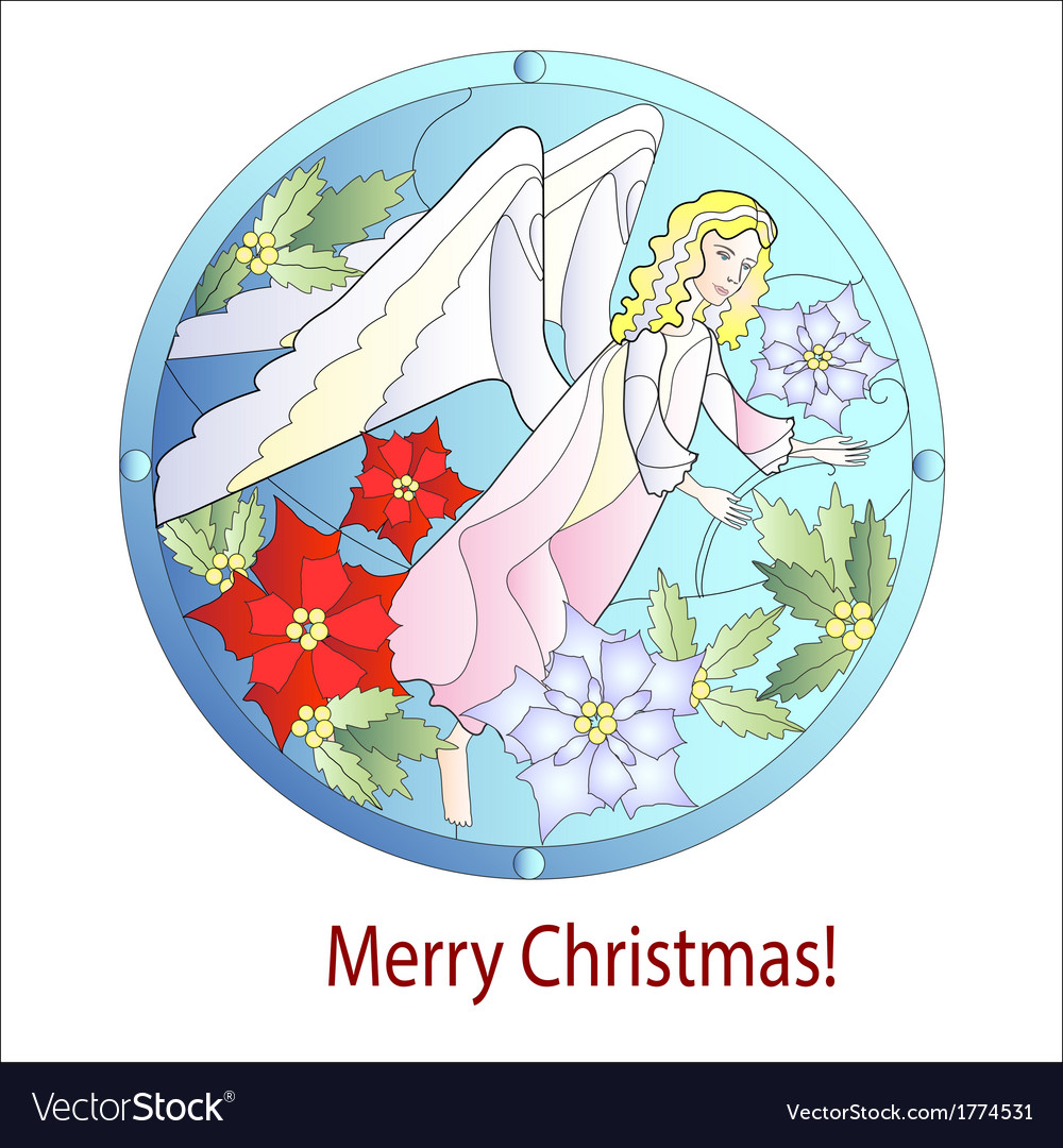 Card christmas vitrail with angel vector | Price: 1 Credit (USD $1)