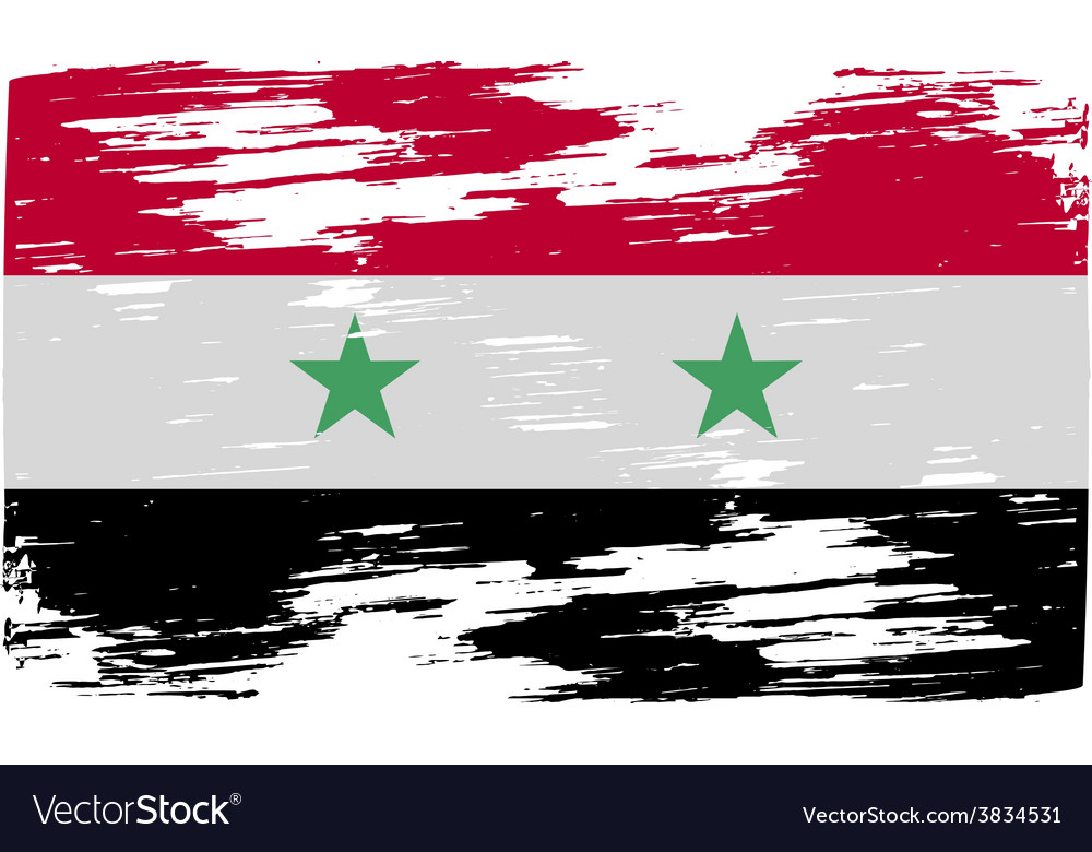 Flag of syria with old texture vector | Price: 1 Credit (USD $1)