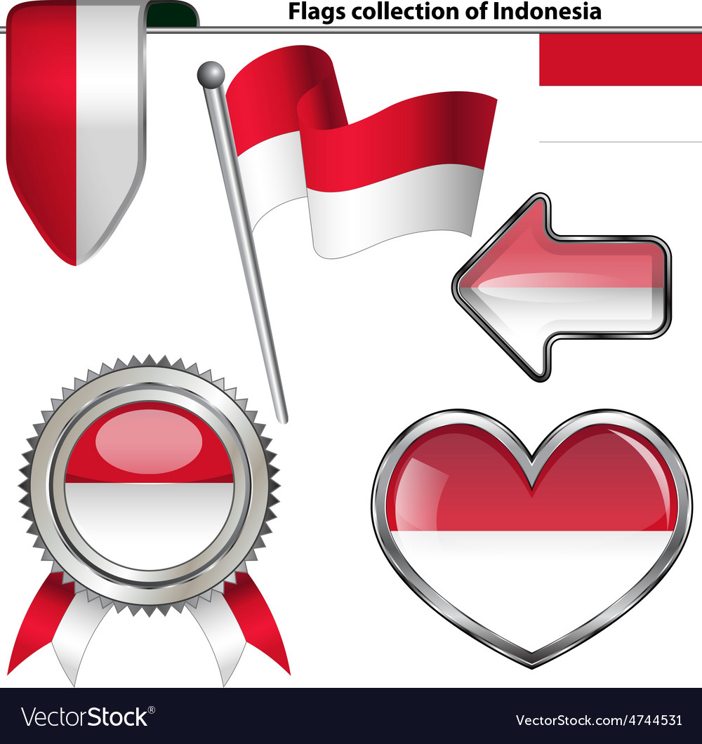 Glossy icons with indonesia flag vector | Price: 3 Credit (USD $3)