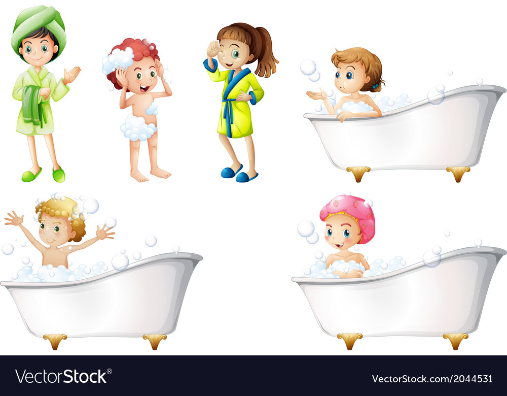 Kids taking a bath vector | Price: 3 Credit (USD $3)