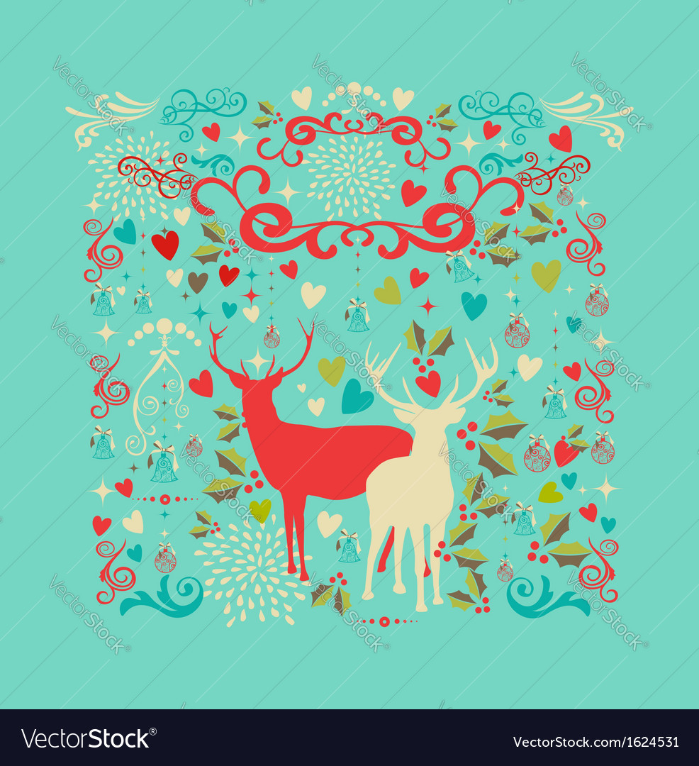 Merry christmas reindeer shape and love icons vector | Price: 1 Credit (USD $1)