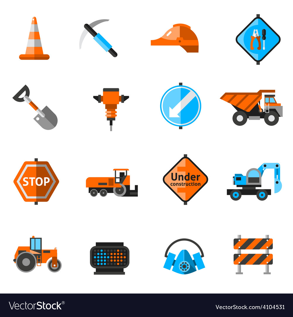 Road repair icons vector | Price: 1 Credit (USD $1)