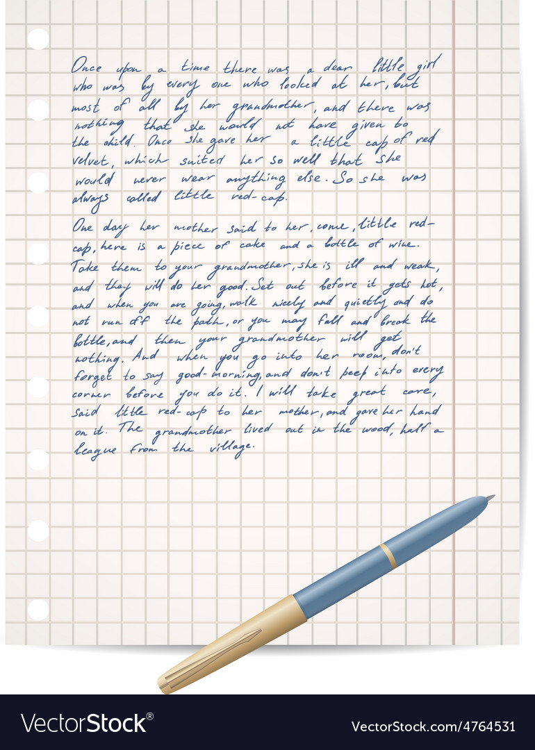 Script on copybook paper and pen vector | Price: 1 Credit (USD $1)