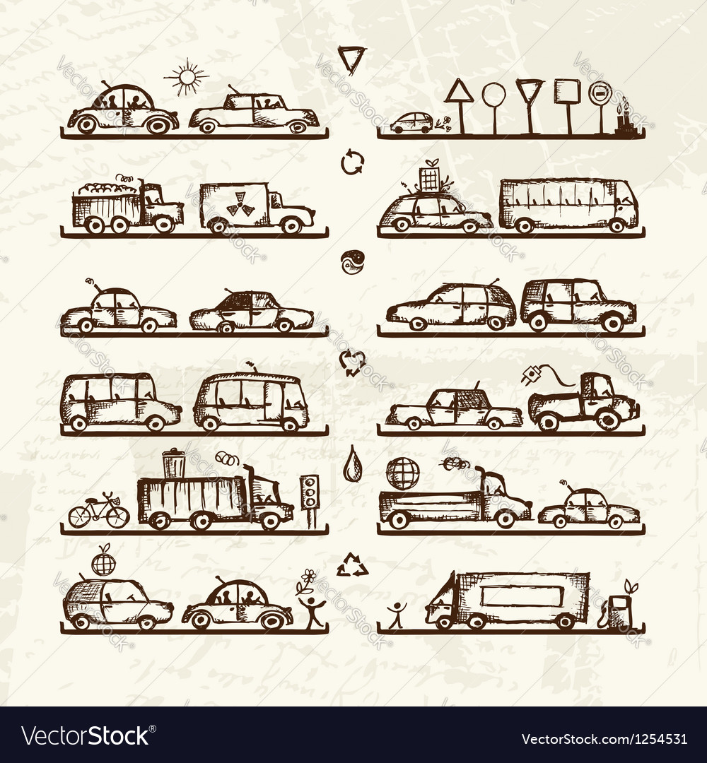 Set of cars and traffic signs on shop shelves vector | Price: 1 Credit (USD $1)