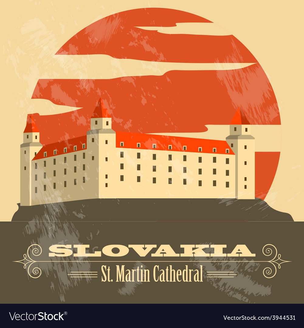 Slovakia landmarks retro styled image vector | Price: 1 Credit (USD $1)
