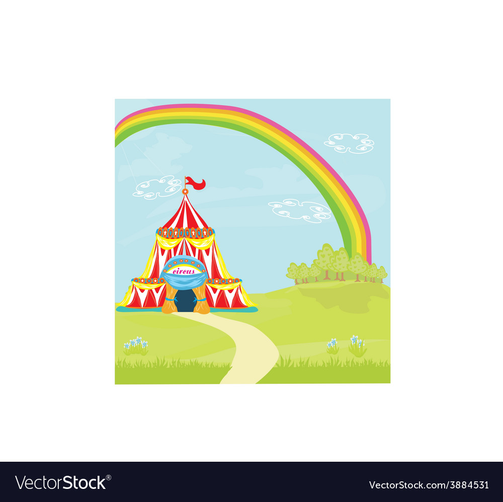 Travelling circus under the rainbow vector | Price: 1 Credit (USD $1)