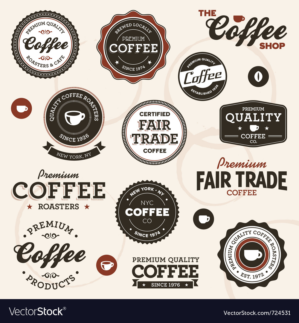 Vintage coffee labels vector | Price: 3 Credit (USD $3)