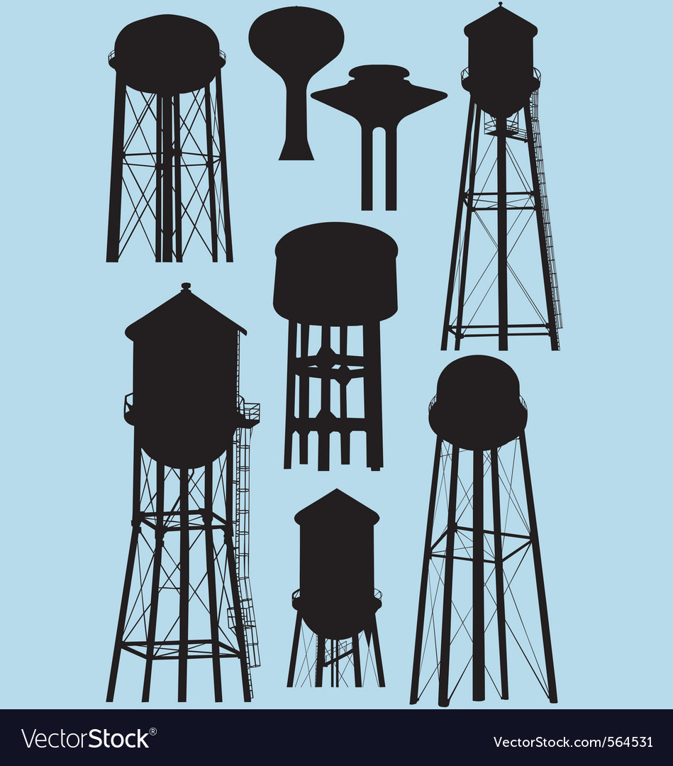 Water tower silhouettes vector | Price: 1 Credit (USD $1)