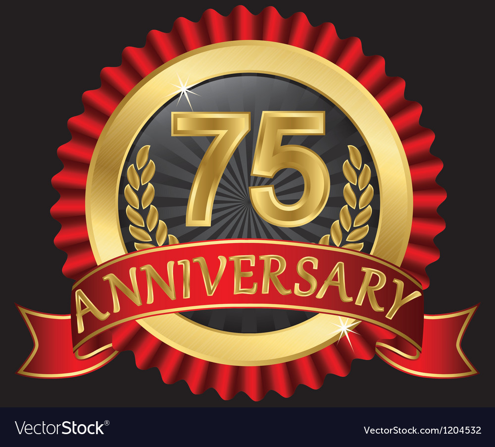 75 years anniversary golden label with ribbons vector | Price: 3 Credit (USD $3)