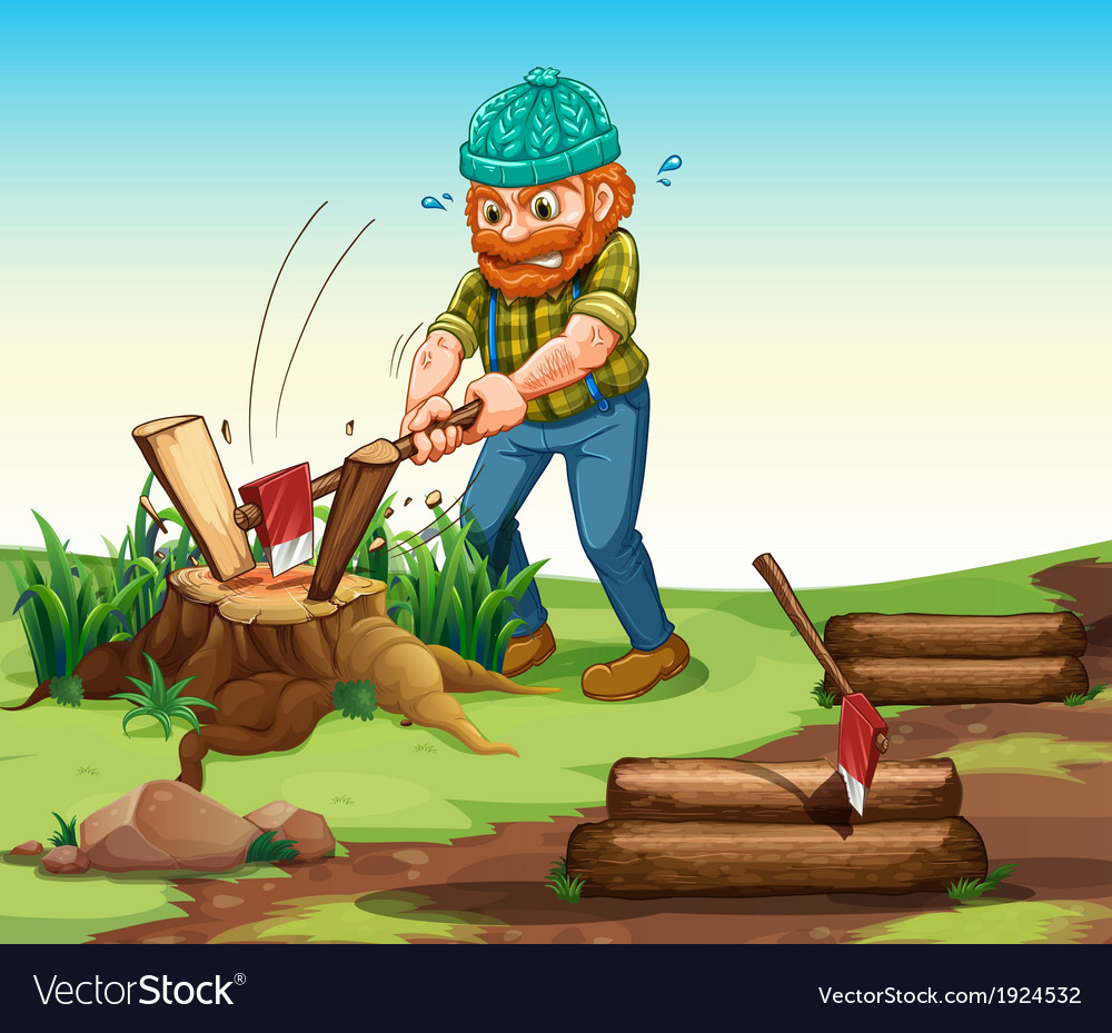 A lumberjack chopping woods vector | Price: 3 Credit (USD $3)