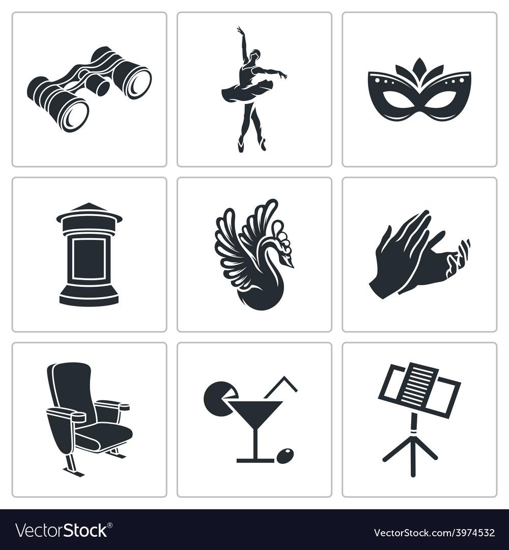 Ballet icons set vector