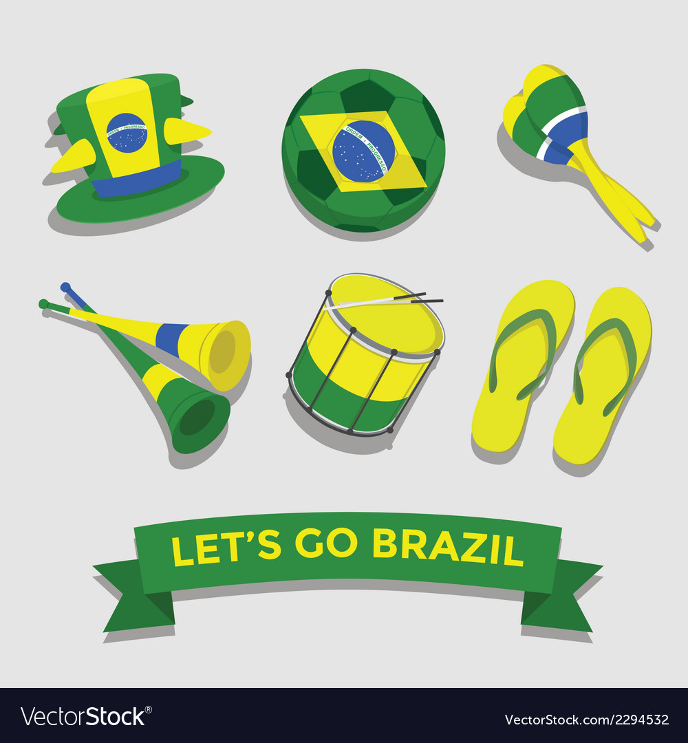 Brazil icon for cheering fan set vector | Price: 1 Credit (USD $1)