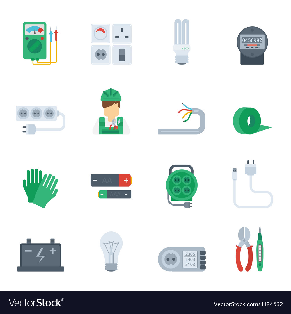Electricity icon flat set vector | Price: 1 Credit (USD $1)