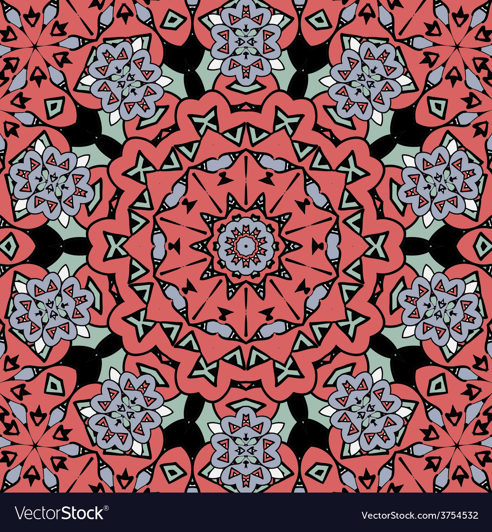 Floral oriental pattern mandala red color endless vector | Price: 1 Credit (USD $1)