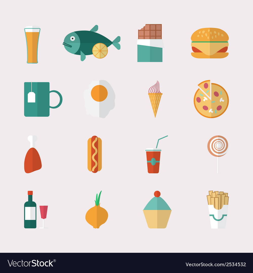 Food icons - flat style vector | Price: 1 Credit (USD $1)