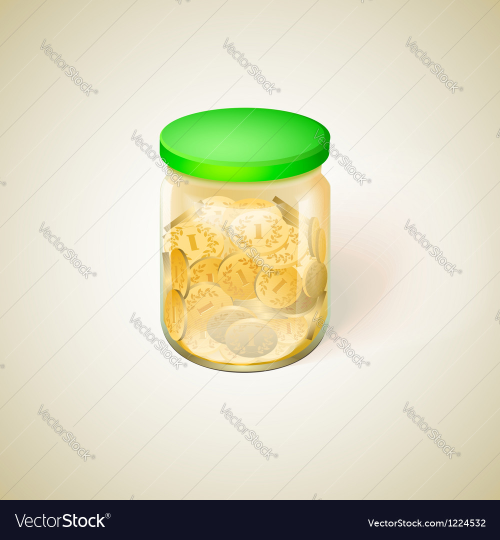 Pot with golden money coins vector | Price: 1 Credit (USD $1)