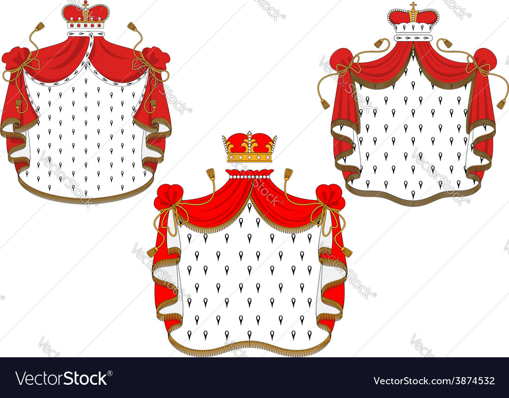 Royal red velvet mantels with golden crowns vector | Price: 1 Credit (USD $1)