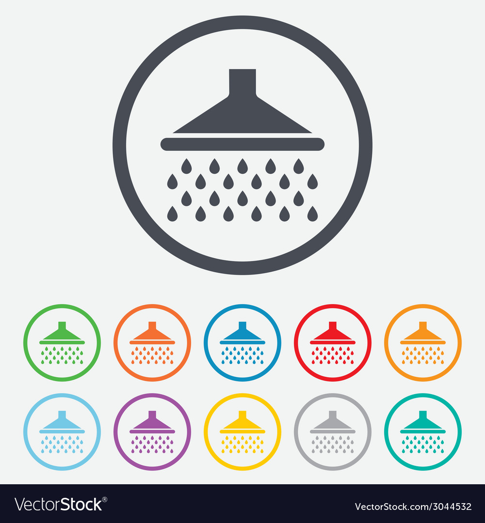 Shower sign icon douche with water drops symbol vector | Price: 1 Credit (USD $1)
