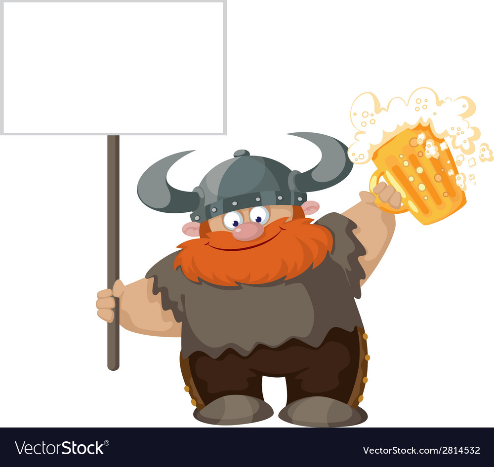 Viking with blank sign and beer vector | Price: 3 Credit (USD $3)