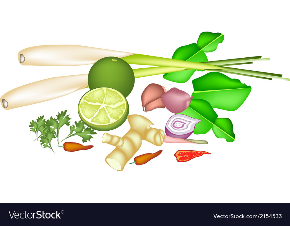 A stack of thai food or thai cuisine ingredient vector | Price: 1 Credit (USD $1)