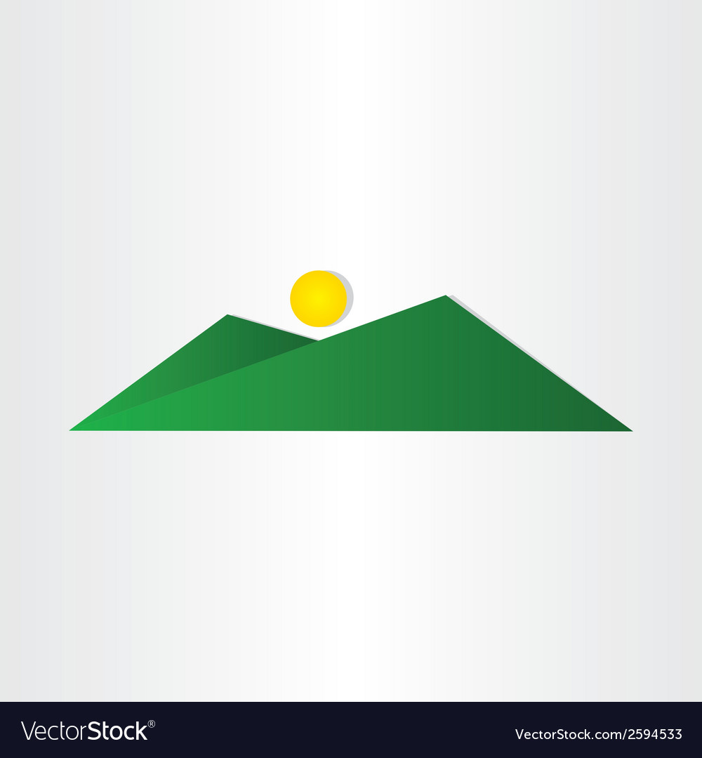 Abstract green mountain with sun vector | Price: 1 Credit (USD $1)